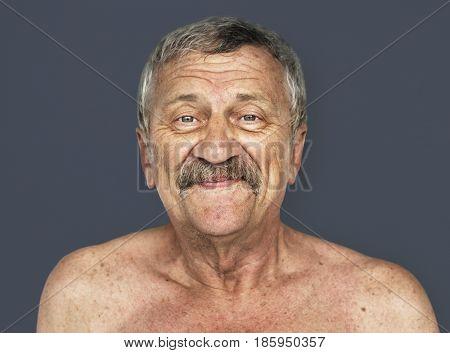 Senior Adult Man Smily Face Expression Feeling Studio Portrait