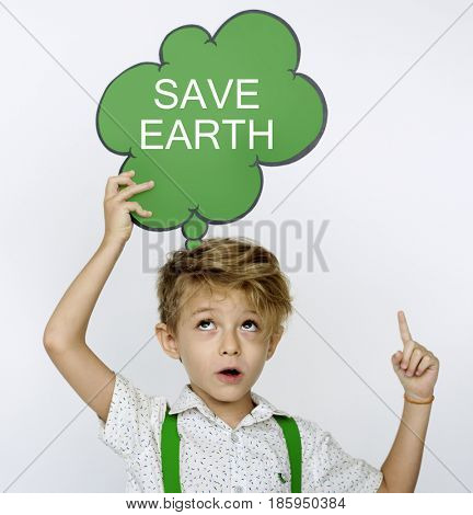 Young boy holding a though bubble with save earth