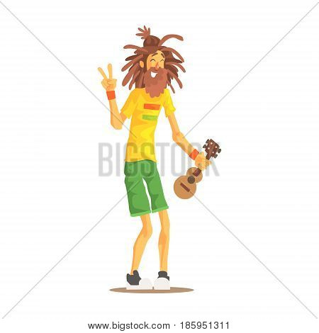 Happy rastafarian guy with dreadlocks and little guitar. Rastafarian subculture colorful character vector Illustration isolated on a white background