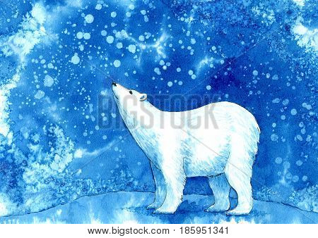 Polar bear,snowflakes and sky.Winter landscape with animals. Watercolor hand drawn illustration.
