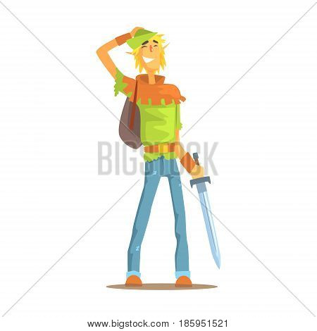 Smiling man dressed as elf or hobbit. Tolkienists subculture colorful character vector Illustration isolated on a white background