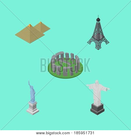 Isometric Attraction Set Of England, Paris, New York Vector Objects. Also Includes Monument, America, England Elements.