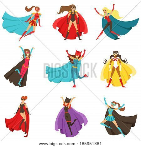 Female Superheroes In Classic Comics Costumes With Capes Set Of Smiling Flat Cartoon Characters With Super Powers. Collection Of Colorful Stickers With People Dressed In Costumes Of Powerful Heroes With Unusual Abilities.
