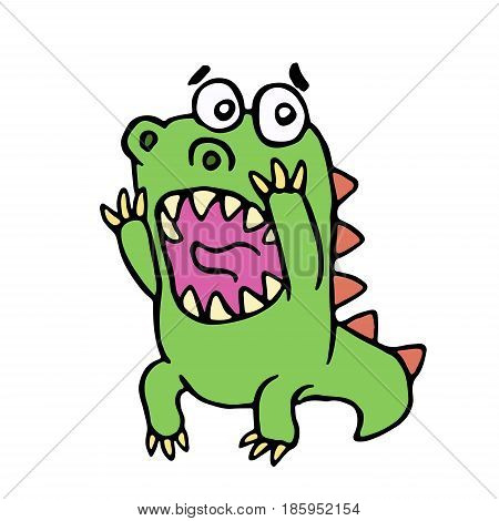 scared dinosaur. vector illustration. cute screaming character.