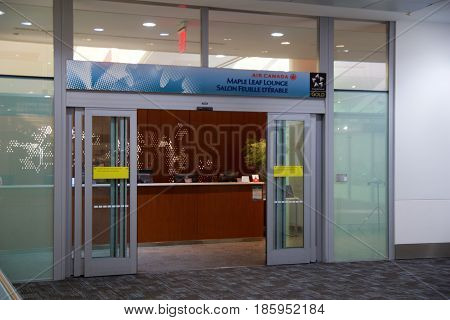 TORONTO, CANADA - JAN 28th, 2017: Air Canada Maple Leaf Lounge at YYZ airport International, main entrance, airport interior for frequent flyer.