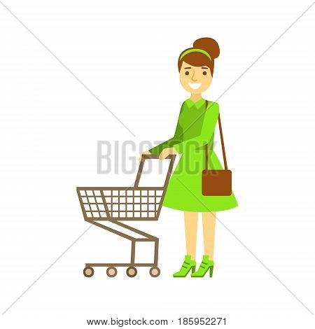 Smiling woman with an empty shopping cart, shopping in grocery store, supermarket or retail shop. Colorful character vector Illustration isolated on a white background