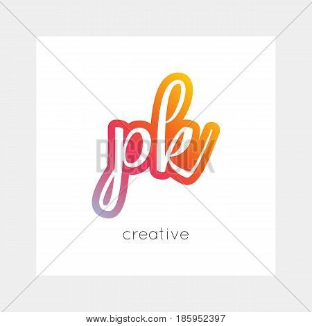 PK logo, vector. Useful as branding, app icon, alphabet combination, clip-art.