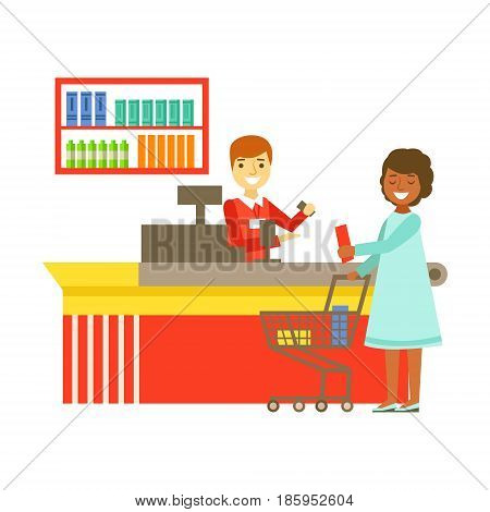 Cashier serving buyer at the cash register in supermarket. Shopping in grocery store, supermarket or retail shop. Colorful character vector Illustration isolated on a white background