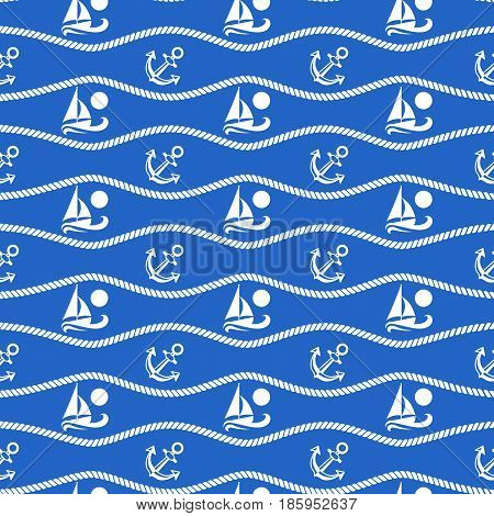 Seamless pattern with ropes and boats. Ongoing stripes background of marine theme blue color. Vector illustration