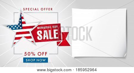 Memorial day sale special offer banner template. Happy Memorial Day Sale discount labels for web banner special offer vector illustration