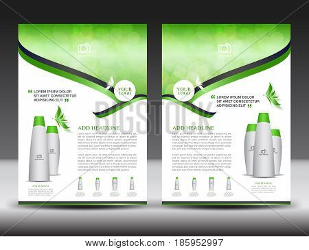 Business brochure flyer templater Green cover design annual report newsletter ads cosmetics flyer vector