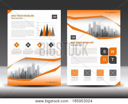 Business brochure flyer templater Orange cover design annual report newsletter ads polygon background