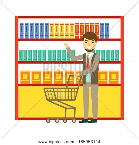 Man shopping at supermarket with shopping cart and buying products. Shopping in grocery store, supermarket or retail shop. Colorful character vector Illustration isolated on a white background