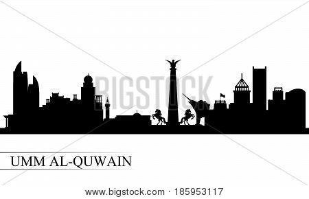 Umm Al-quwain City Skyline Silhouette Background