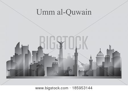 Umm Al-quwain City Skyline Silhouette In Grayscale