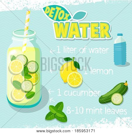 Recipe for detox cocktail with cucumber, lemon, water, mint. Vector illustration for diet menu, cafe and restaurant menu. Fresh smoothies, detox, fruit cocktail for healthy life.