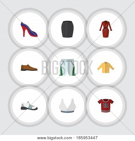 Flat Clothes Set Of Sneakers, Stylish Apparel, Male Footware And Other Vector Objects. Also Includes Shoes, Shorts, Sneakers Elements.