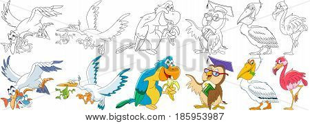 Cartoon animals set. Collection of birds. Aquatic seagull fish stork frog macaw (arara) parrot eating banana owl in graduation cap holding book pelican flamingo. Coloring book pages for kids.