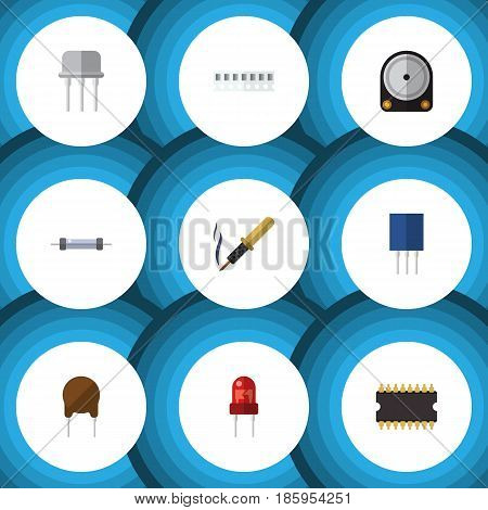 Flat Appliance Set Of Recipient, Microprocessor, Resist And Other Vector Objects. Also Includes Recipient, Soldering, Memory Elements.