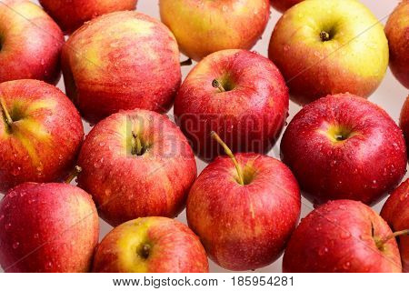 Apple Fruit, Many Red Apples Background In Market