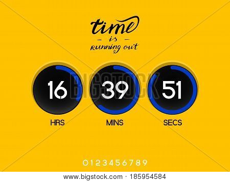 Countdown Timer for the website. Round section. Hours, minutes, seconds. dark gray background. Stock inscription time is running out, lettering