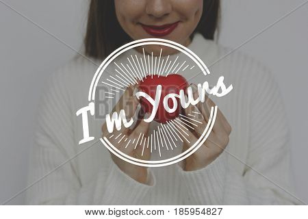 Woman Holding Heart Love Amor Affection Word Graphic poster