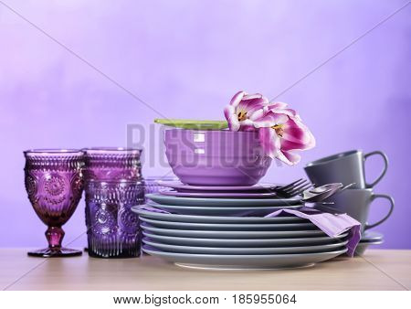 Set of dishware on table