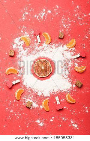 Tangerine And Orange Circle On Red Background