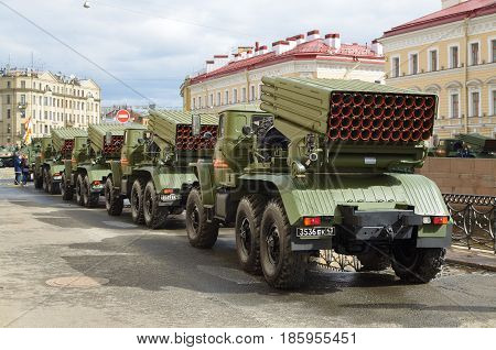 07.05.2017.Russia.Saint-Petersburg.Modern military equipment is ready to participate in the parade devoted to the Victory Day.