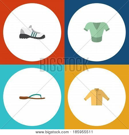 Flat Garment Set Of Casual, Beach Sandal, Banyan Vector Objects. Also Includes Gumshoes, Shoes, Man Elements.