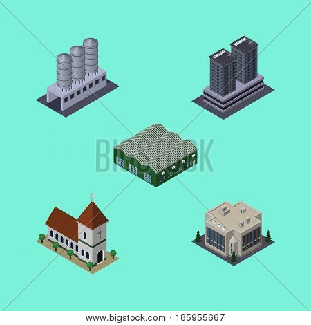 Isometric Urban Set Of Chapel, Water Storage, Warehouse And Other Vector Objects. Also Includes Warehouse, Skyscraper, Depot Elements.