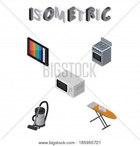 Isometric Technology Set Of Cloth Iron, Microwave, Vac And Other Vector Objects. Also Includes Vac, Board, Ironing Elements.