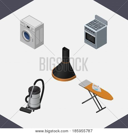 Isometric Electronics Set Of Air Extractor, Laundry, Stove And Other Vector Objects. Also Includes Vac, Cooker, Ironing Elements.