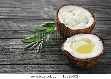 Composition with coconut products on wooden background