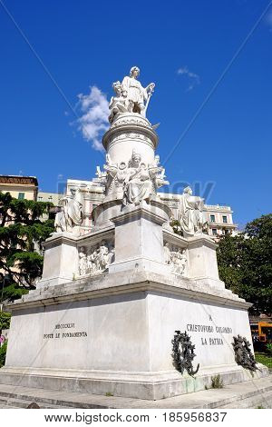 GENOA ITALY - APRIL 28 2017 - Monument to Christopher Columbus.