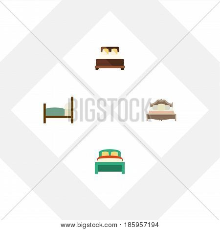 Flat  Set Of Bed, Bedroom, Furniture And Other Vector Objects. Also Includes Double, Bedroom, Bearings Elements.