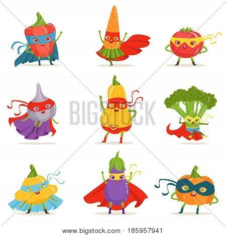 Superhero Vegetables In Masks And Capes Set Of Cute Childish Cartoon Humanized Characters In Costumes. Healthy Fresh Food With Superpowers Vector Illustrations In Bright Colors.