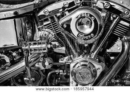 PAAREN IM GLIEN GERMANY - MAY 19: Motorcycle Engine Harley Davidson Custom Chopper black and white