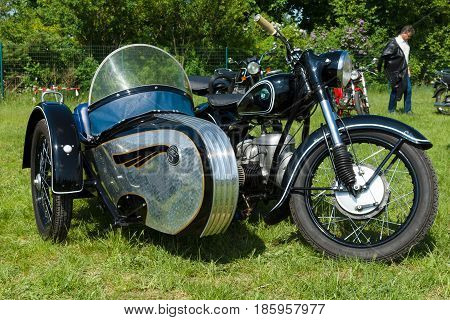 PAAREN IM GLIEN GERMANY - MAY 19: German motorcycle with sidecar MZ BK 350