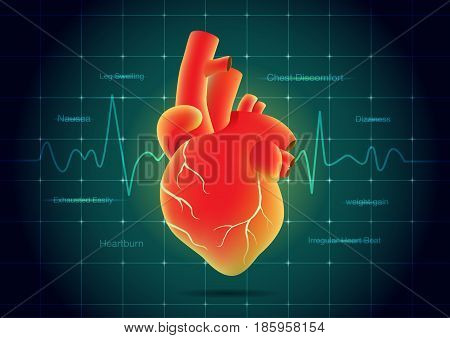 Human heart red color on pulse monitor background. Illustration about heart disease symptoms.