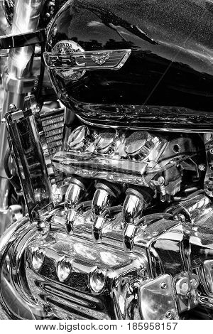 PAAREN IM GLIEN GERMANY - MAY 19: Japanese motorcycle engine Honda Valkyrie close-up black and white
