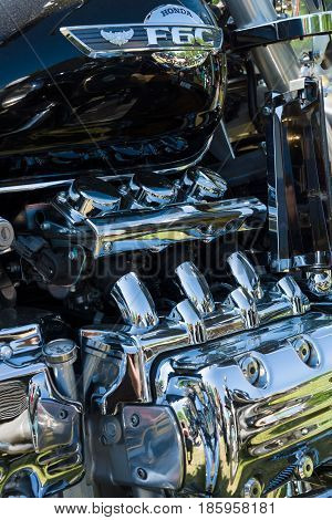PAAREN IM GLIEN GERMANY - MAY 19: Japanese motorcycle engine Honda Valkyrie close-up