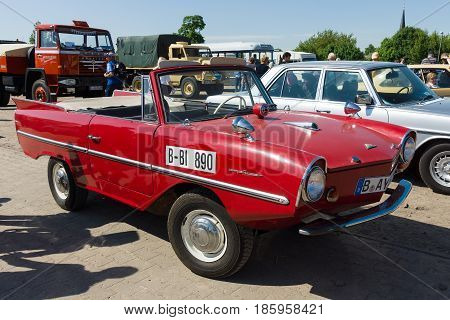 PAAREN IM GLIEN GERMANY - MAY 19: Car amphibious Amphicar designed by Hanns Trippel and manufactured by the Quandt Group