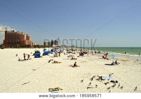 Clearwater Beach Florida USA - May 12 2015: tourists on the beach enjoying the sun
