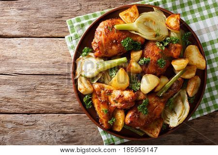 Moroccan Food: Pieces Of Chicken Baked With Fennel And Potatoes Close-up. Horizontal Top View