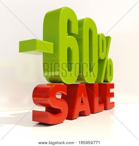 3d render: Sale Banner or Poster Discount Template, Retail Image 60% Sale Sign