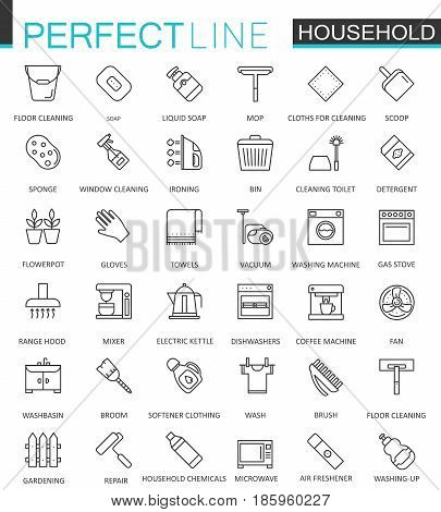 Household appliances thin line web icons set. Outline stroke icon design
