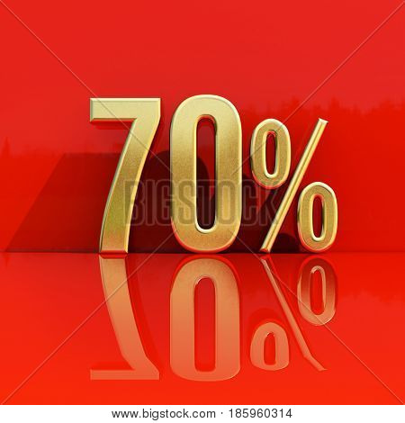 3d render: Sale Banner or Poster Discount Template, Retail Image 70% Sale Sign