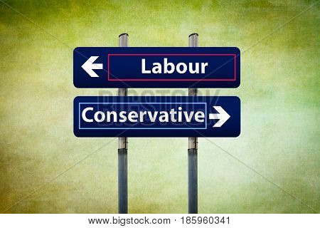 concept of two road signs representing labour and conservative parties in uk early elections in june
