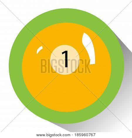 Isolated billiard ball on a colored button, Vector illustration